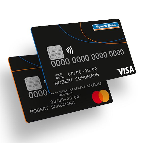 Mastercard und Visa Karte im HALLO-Design.